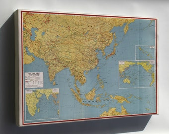 Canvas 16x24; Wwii Map Of Southeast Asia Japan China India 1943