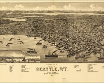 16x24 Poster; Birdseye View Map Of Seattle, Puget Sound, Washington Territory, 1884