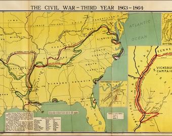 16x24 Poster; Map Of Civil War Third Year