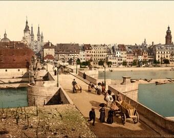 16x24 Poster; Old Main Bridge And Town, Wurzburg, Bavaria, Germany 1890