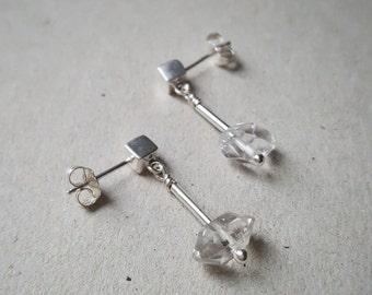 Herkimer Diamond earrings, sterling silver gemstone earrings, dangle simple earrings, cube posts, April birthstone, crystal earrings