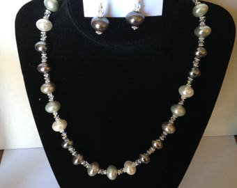 Not Quite 50 Shades of Gray Necklace and Earrings