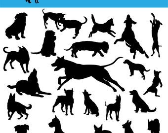 90 Dog SVG, Dog Silhouette Clipart, Dog Silhouette SVG, Dog Breed SVG, Dog Cutting File, Dog Dxf, Dog Vector, Dog Eps, Dog Png, Breed Dxf.