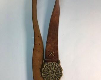 Leather womens belt brass buckle