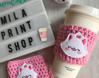 Pink Kitten Coffee Cozy