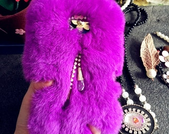 Purple Luxury Bling Soft Fluffy Fur Furry Sparkles Pendant Gems Crystals Rhinestones Diamond Fashion Lovely Hard Cover Case for Mobile Phone