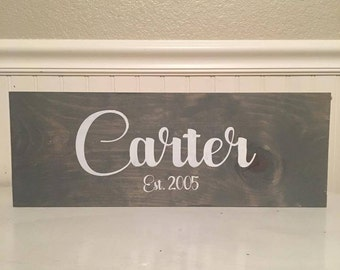 Grey Last Name Sign | Wedding Gift | Anniversary Gift | Last Name Wood Sign | Established Sign | Family Sign | Home Decor | Rustic Decor