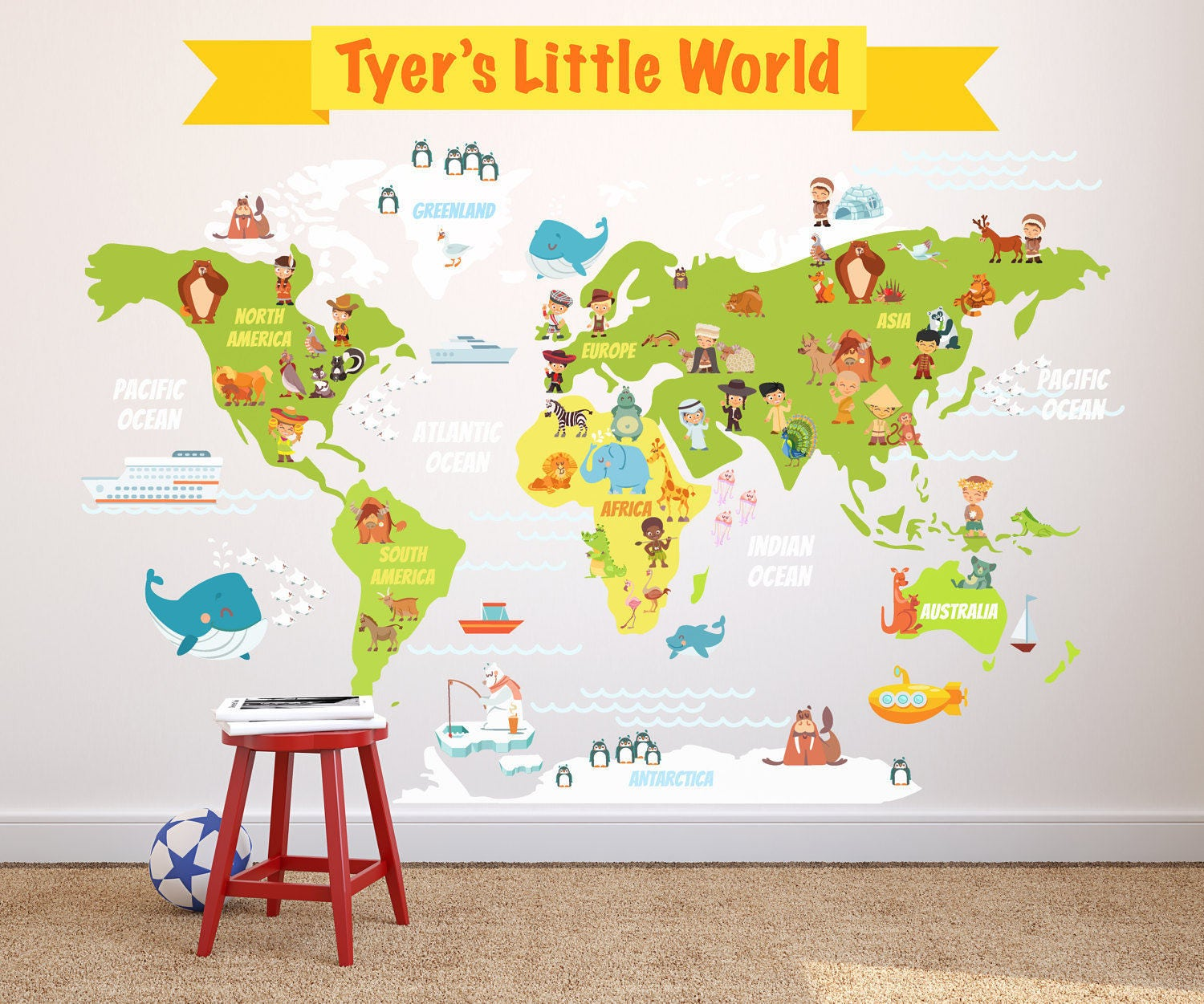 Kids world map wall decal kids room world map wall decal zoom amipublicfo Gallery