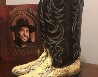 Vintage western snakeskin cowboy boots/7D/8.5/9/WIDE