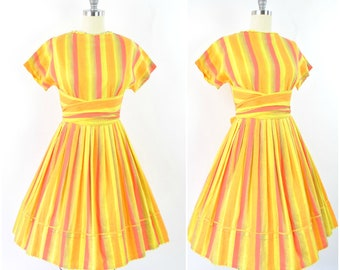 Vintage 1950s stripe sundress  / 50's citrus dress sz S - M (B 36 W 28 -30) /  fit and flare cotton day dress / wrap waist bow ric rac trim