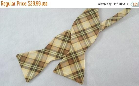 Winter Sale Plaid Freestyle Cotton Bow Tie/ Self Tie Bowtie Yellow/Brown