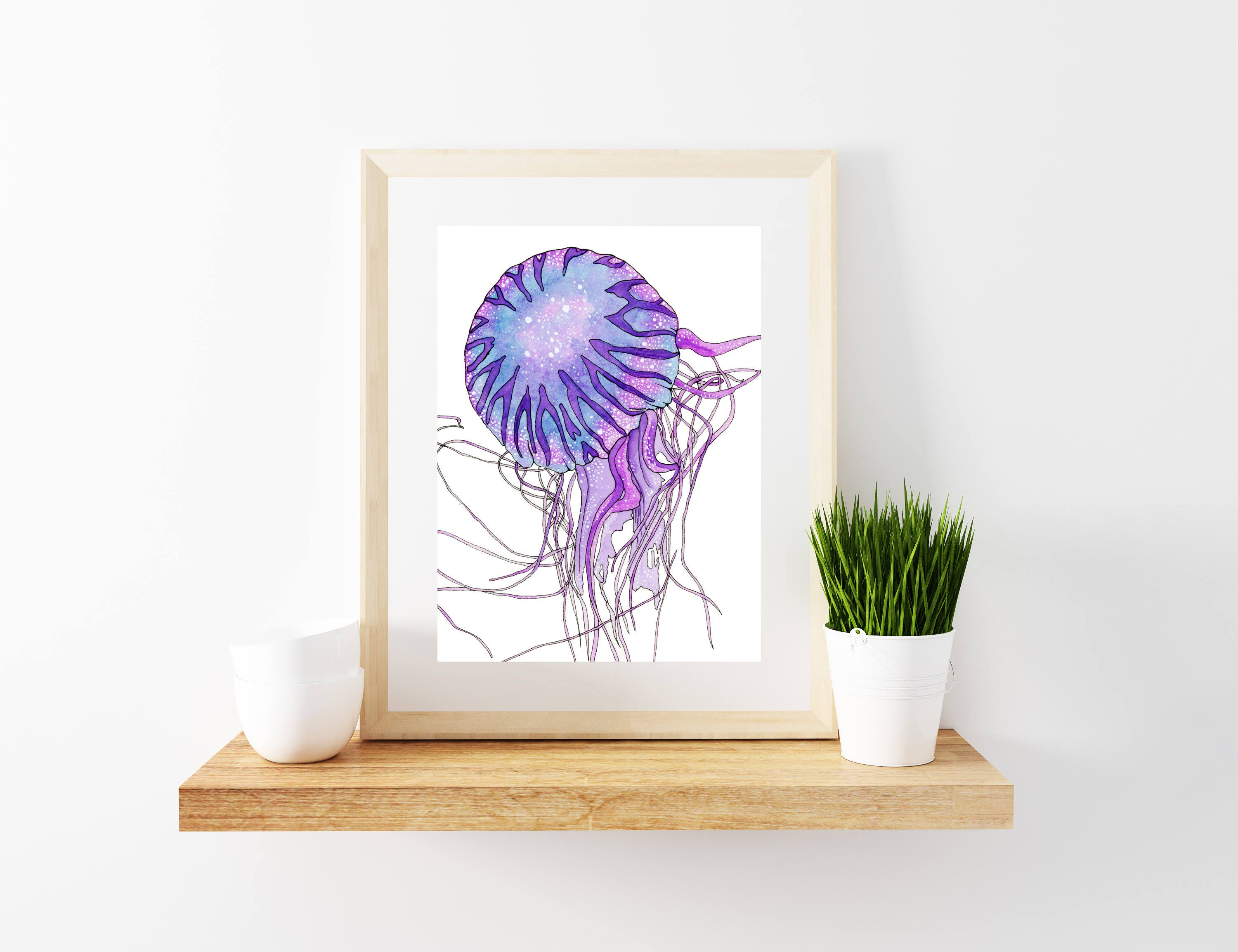 jellyfish inspired galaxy watercolor painting art prints