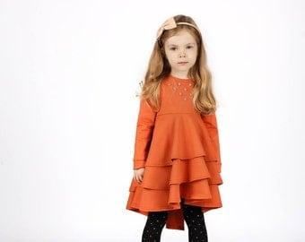 SALE!Long sleeve girls dress-Cotton baby dress-Flower toddler dress-Organic dress-Christmas dress-Christmas girls gift 2T