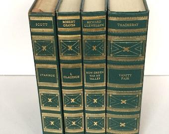 International Collectors Library Set - Books for Decor - Green Book Bundle - Decorative Books - Books Vintage - Green Book Set - Set of 4