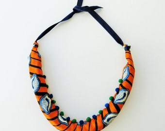 African necklace, African jewelry, unique necklaces for her, tribal necklace, boho jewelry, fabric bold necklace, Christmas gift for her,