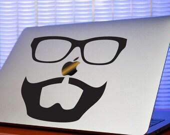 Hipster Beard & Glasses Computer Decal-Beard Sticker-Hipster Mac Sticker-Beard Laptop Decal-Computer Decal