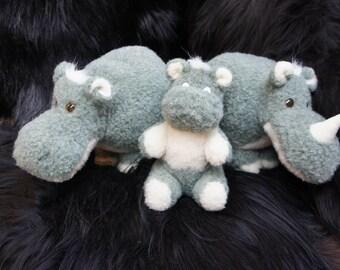 hand made pure wool hippos