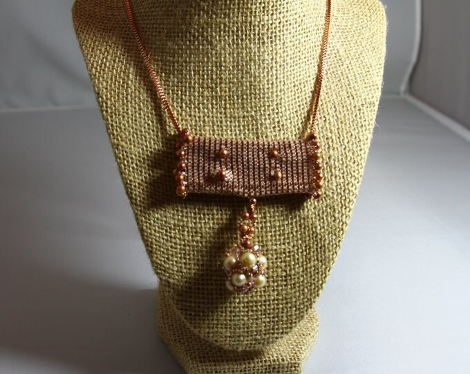 Pearls, Peyote Pendant, Rose Gold box chain necklace