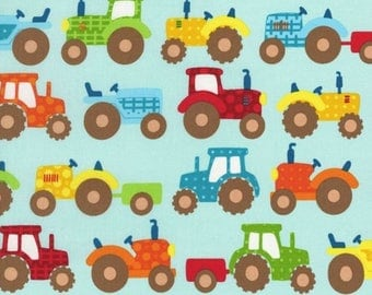 Apple Hill; Farm Tractor Pull fabric Light Blue Background Different Shapes and Colored Tractors OOP Hard to Find Great for Child's Room