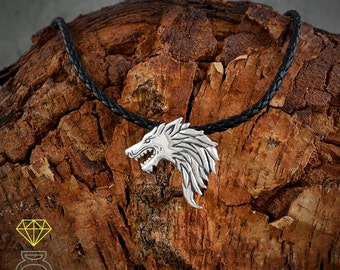 Silver Wolf pendant, silver pendant,SterlingSilver Wolf, thrones wolf Pendant