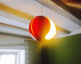 Mid century modern pendant light - Veneer lamp shade - Hanging lamp - Verner Panton Moon lamp