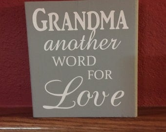 Grandma another Name for Love wood sign, Grandmother gift, Grandparents Day gift, Mother's Day Gift, handmade gift, personalized wood sign,