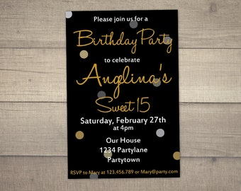 15th Birthday Invitation, Sweet 15 Birthday Invitation, Black and Gold Birthday Invitation, printable-digital file.With FREE Thank You card