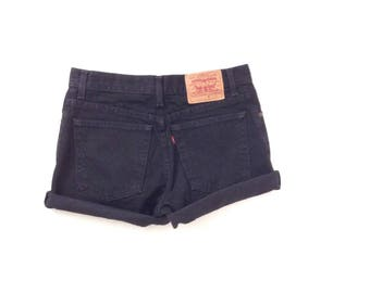 Levi's black denim shorts. levis, high waisted levis 5pkt jean shorts. Made in USA