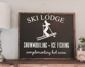Ski lodge | Wood sign