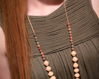 Peach Paper Necklace with stone beads