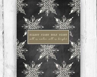 Silent Night, Snowflakes, Chalkboard, Wall Print, Christmas Print