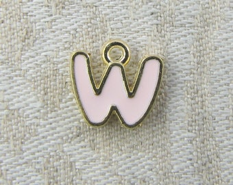 "Pink and Gold Enamel Letter ""W"" Charm, 1 or 5 letters per package  ALF026w-P"