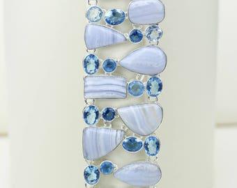 Blue Lace Agate Blue Topaz 925 S0LID Sterling Silver Bracelet B2518