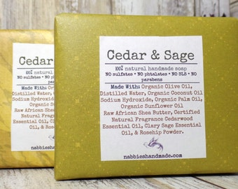 Cedar & Sage Soap – Natural Soap – Organic Soap – Natural Skincare – Vegan – Soap – Homemade Soap – Cold Process Soap – Soap For Men