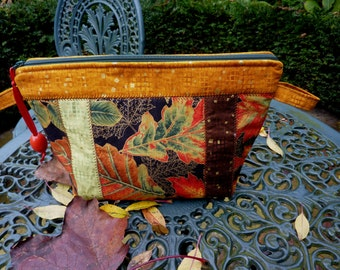 Bag  leaves, quilted bag, toiletry bag, make up bag, sewed bag, autumnal bag,toiletries bag, canvas zippered bag, bag ladies