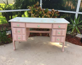 Desk,painted furniture,boho furniture,refurbish furniture,pink desk,girl desk,girl bedroom furniture,office desk ,pink and mint desk