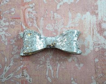 Sparkle Hair Bow. Silver Chunky Glitter Sparkle Hair Bow. Silver Hair Clip. Sparkle Silver Bow. Glitter Hair Clip. Sparkle Hair Clip.