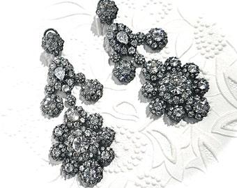Vintage Rhinestone Earrings Gunmetal Earrings Vintage Jewelry VA-240