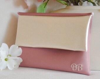 Blush monogram clutch - pink wedding clutch - dusty rose clutch purse - bridesmaid gift - color block fold over clutch - ivory clutch - bag