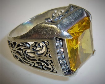 Silver Ring with Citrin, gold Topas, US Size 8,5, Arabic Ring, African Silver-Ring, Islamic Ring