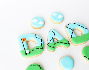 28 Dad Cookies, Sports Cookies, Sports Party Theme, Sports Favors, Fathers Day Cookies, Baseball Cookies, Baseball Party, Golf Themed Party