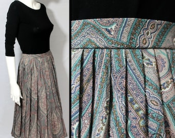 Jaeger Skirt, Paisley Skirt, 70s Skirt, Multicoloured Skirt, Skirt Size M, Mid Length skirt, Pleated Skirt, Wool Skirt, UK 12, Paisley Print