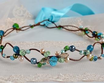Bridal rustic crown Boho wedding hair accessory blue Woodland fairy tiara Woodland wedding Fairy hair wreath Crystal hair tiara blue green