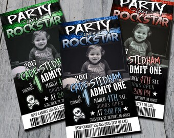 Party Like A Rockstar Birthday Party Invitation (Digital)