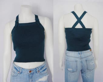 90s ribbed tank top with buckles, vintage X-back top - teal, crop top, ribbed top, knit top, cropped square neckline, 1990s 90s clothing