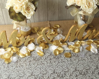 "MR & MRS glitter wedding sweetheart table letters - 6"" Gold and Silver Paint or Glitter mr and mrs Wedding, reception decor"