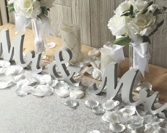 "MR & MRS Silver Glitter wedding sweetheart table letters - 6"" Silver Paint or Glitter or Diy Wedding, reception decor"