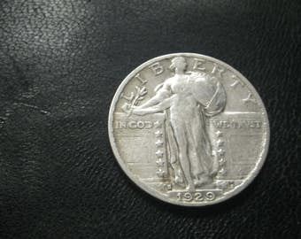 1929 S Standing Liberty US silver Quarter