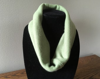 Upcycled cashmere cowl. Soft green and cream cashmere felted neck warmer. #3