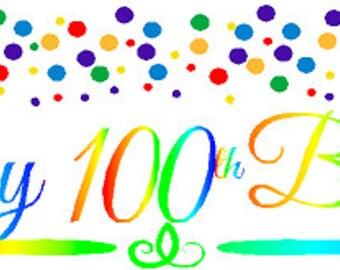 Happy 100th Birthday Rainbow Wall Decoration Party Banner